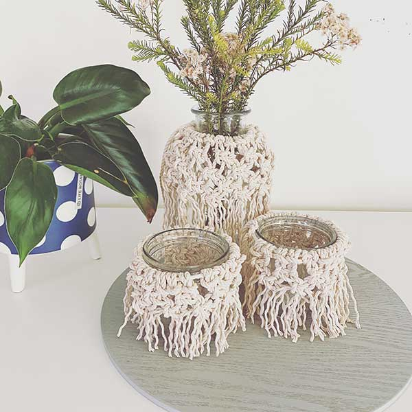Modern macrame tea light holders